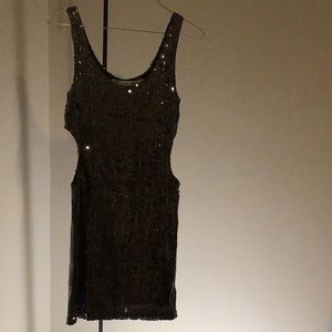 Silver gray sequins party dress